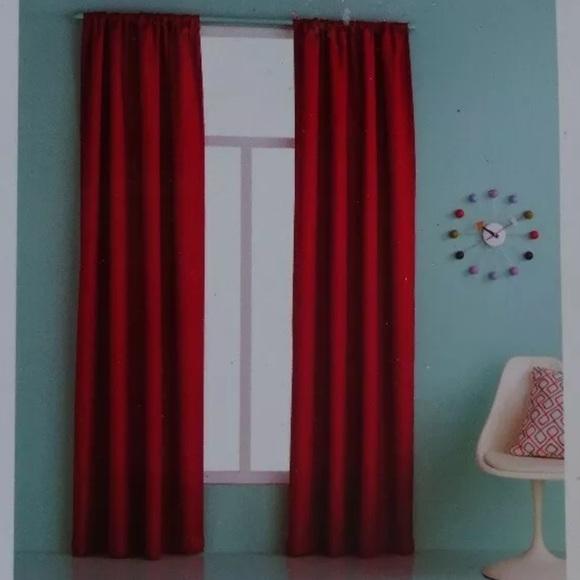 """Red 84"""" X 42"""" Essential Darkening Window Panels 2"""